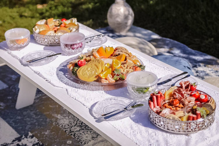 Fresh gourmet platters for orchard picnics
